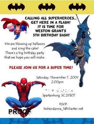 superhero party invitation - Superhero Birthday Party Invitations