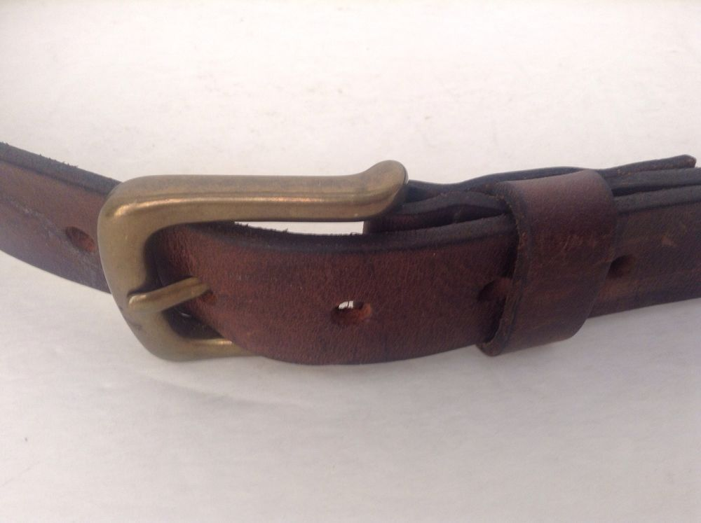 Abercrombie & Fitch Co. Mens Brown Leather Belt Size 32 Solid Brass Buckle #AbercrombieFitch