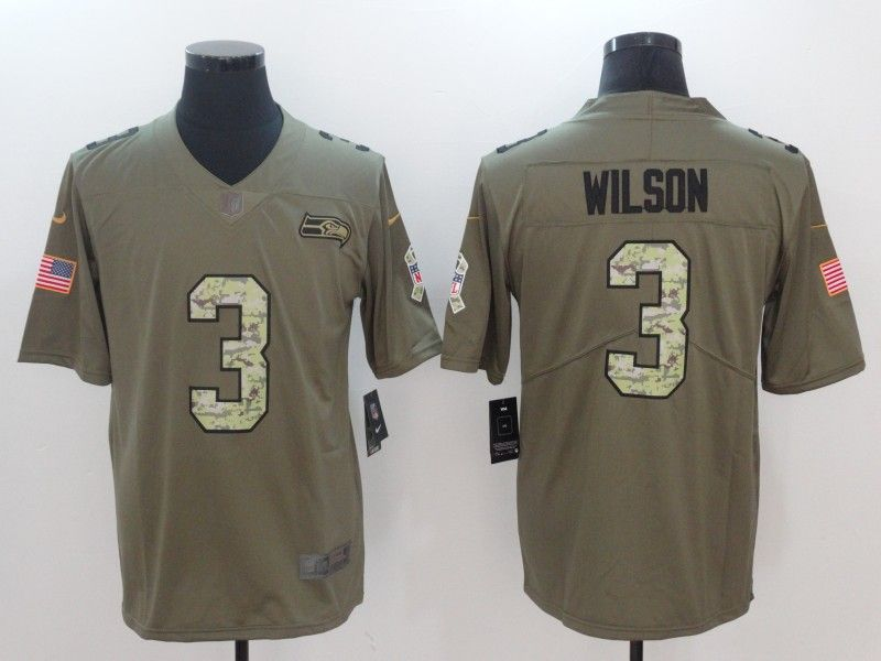 Men Seattle Seahawks 3 Wilson Camo Nike Olive Salute To Service Limited NFL  Jerseys aa3e27683