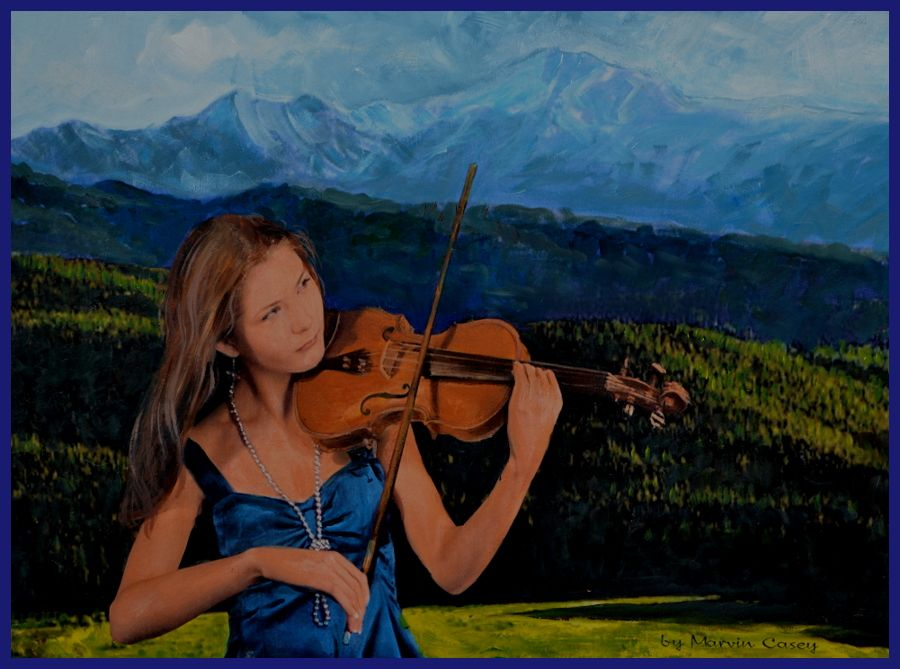 "This is my acrylic painting Called ""Mountain Music""  She is a beautiful Violinist who has played in concerts all over the place. The mountains in the background is the Rockies from the east side."
