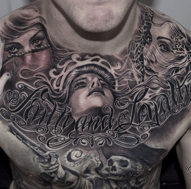 Black And Grey Tattoo Black And Grey Tattoo Of Realist Girl Face With Lettering Chicano Tattoo And Skull Tatt Grey Tattoo Black And Grey Tattoos Chest Tattoo
