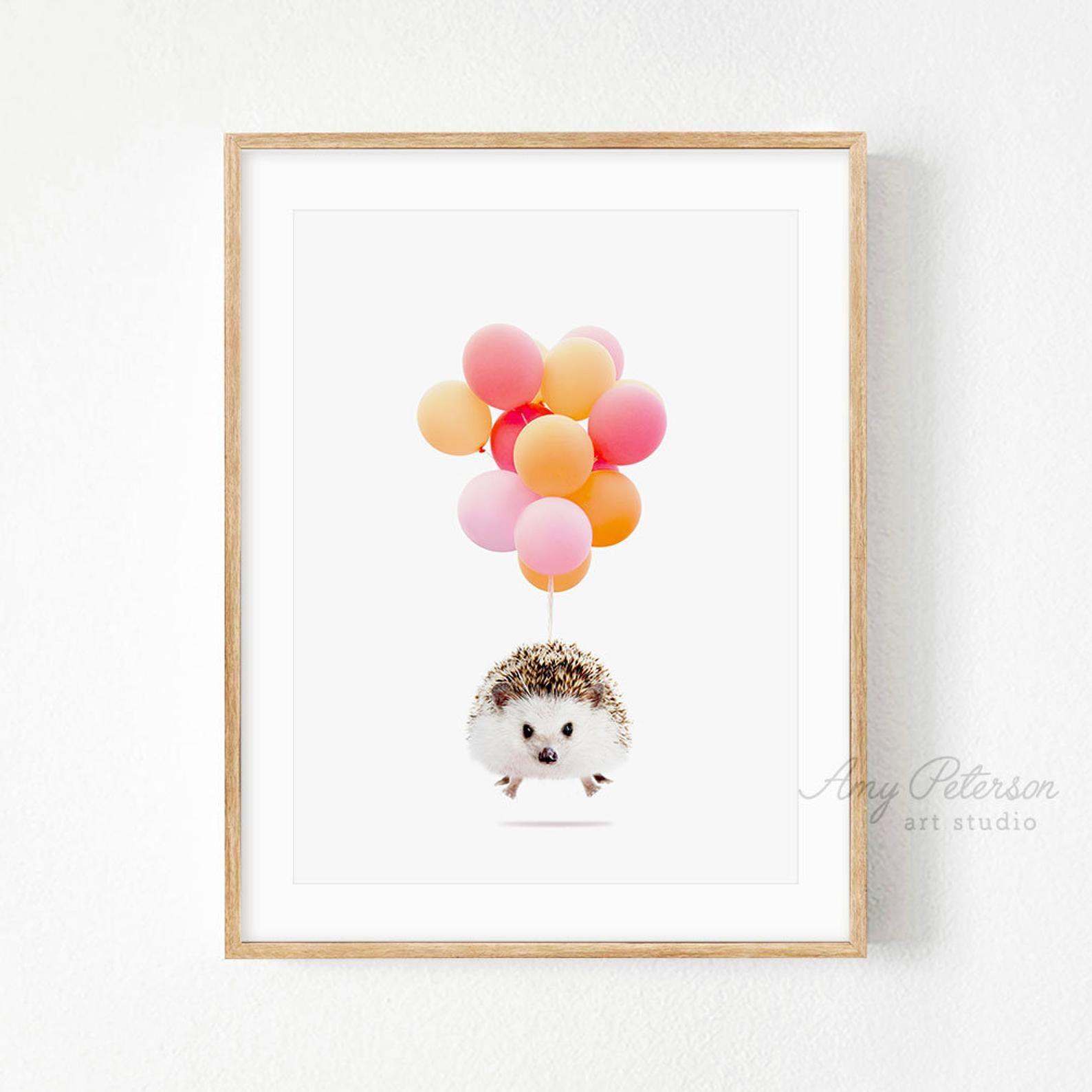 Hedgehog balloons print funny hedgehog art print whimsy