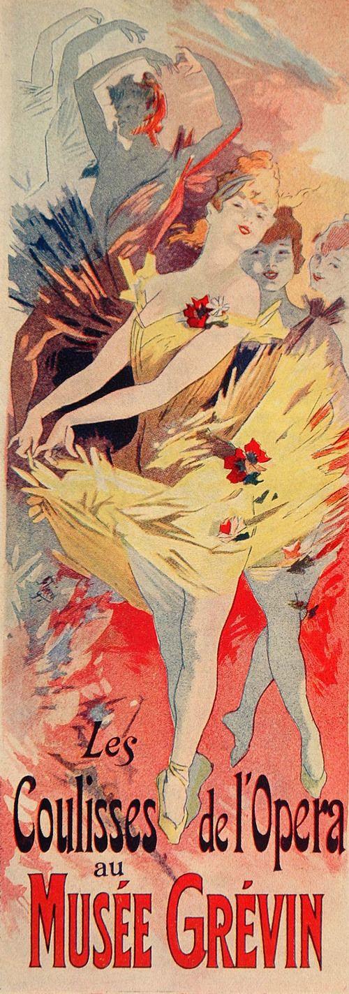 Jules Cheret Les Coulisses De L Opera 1913 Jules Cheret Vintage French Posters Art