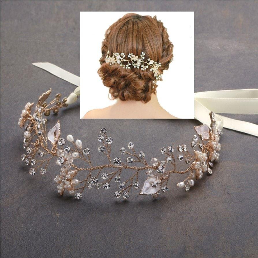vigne de cheveux mariage avec fleurs en perles ivoire vigne de cheveux coiffure mariage. Black Bedroom Furniture Sets. Home Design Ideas