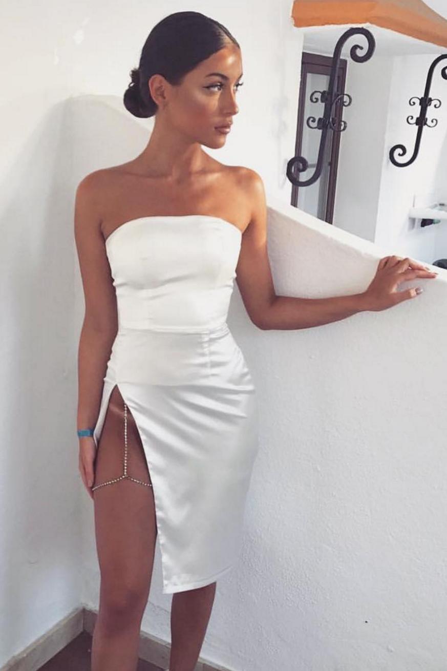 Alayna Satin Strapless Midi Dress Ivory Meshki Strapless Midi Dress Dresses Satin Midi Dress [ 1310 x 873 Pixel ]