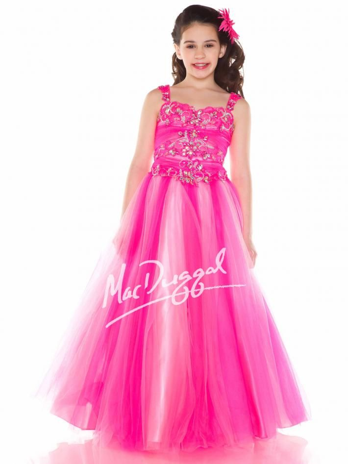 Neon Pink Girls Pageant Gown | Mac Duggal 48163S | Children\'s ...