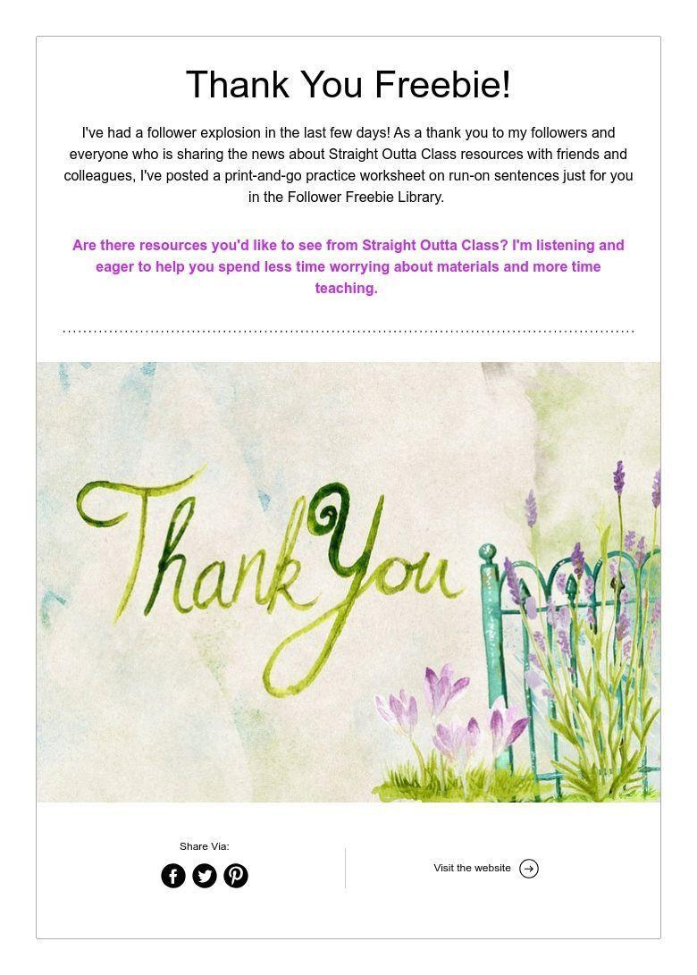 Thank You Freebie Run On Sentences Printing Practice Freebie