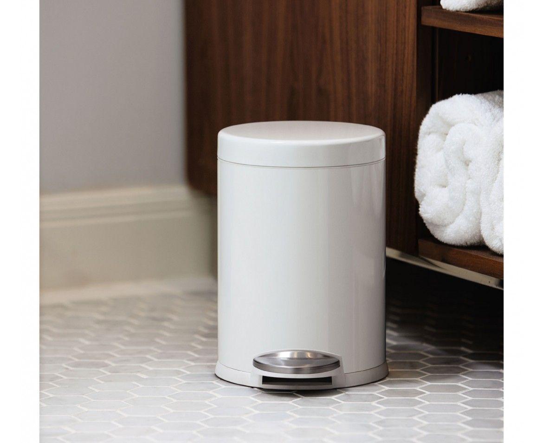 Simplehuman | 4.5L Mini Round White Steel Step Trash Can Amazing Ideas