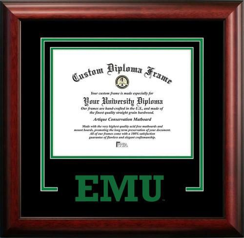 Eastern Michigan University Matted Diploma With Mahogany Frame