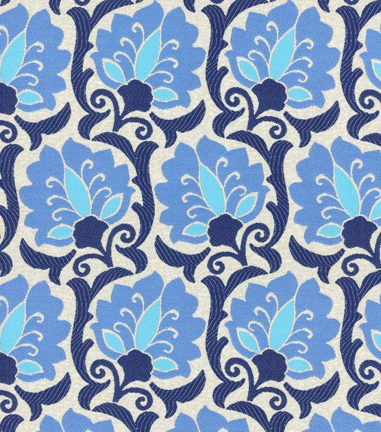 Upholstery Fabric-Waverly Playful Prose Indigo