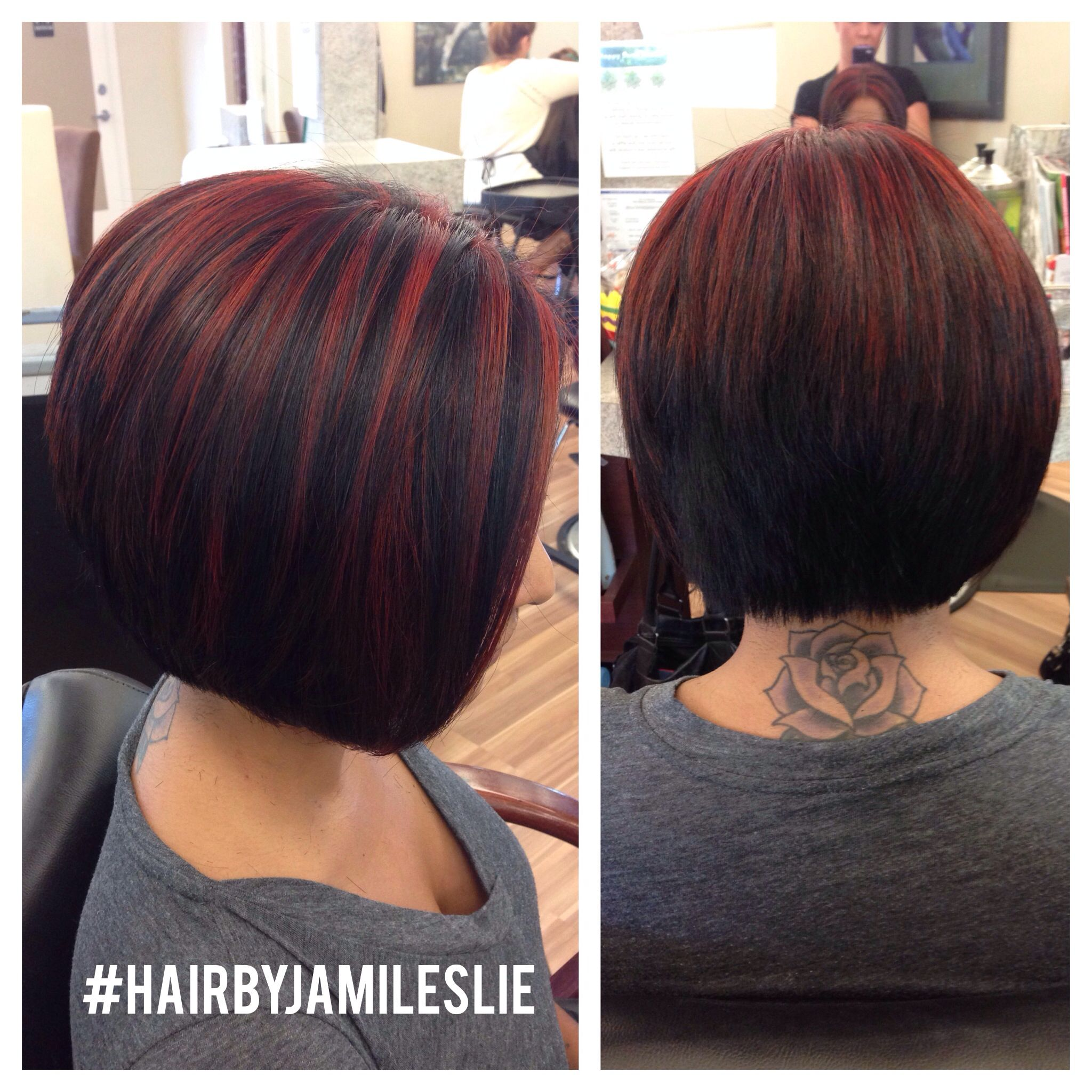 An Adorable Stacked A Line Bob With Red Highlights Hair By Jami