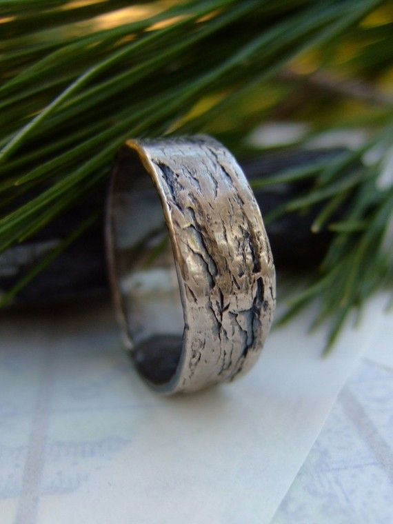 Stone Stone, mens handmade fine silver ring band