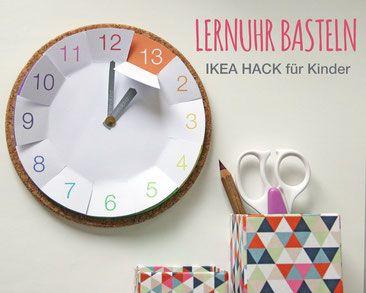 uhrzeit lernen ikea hacks f r kinder mit kostenloser bastelvorlage basteln mit kindern diy. Black Bedroom Furniture Sets. Home Design Ideas