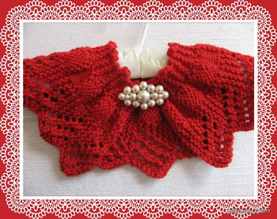 Lace collar or scarf knitting pattern candy apple red design pdf lacecollarorscarfknittingpatterncandyapple dt1010fo