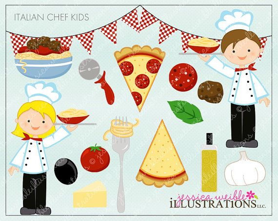 Italian Chef Kids Cute Digital Clipart
