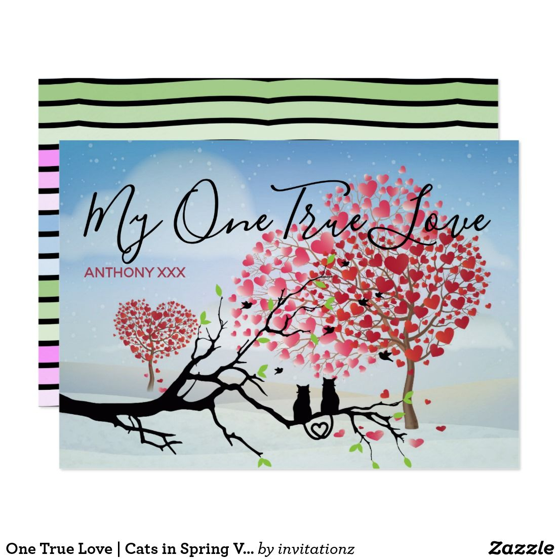 One True Love Cats In Spring Valentine S Day Card Gift Ideas