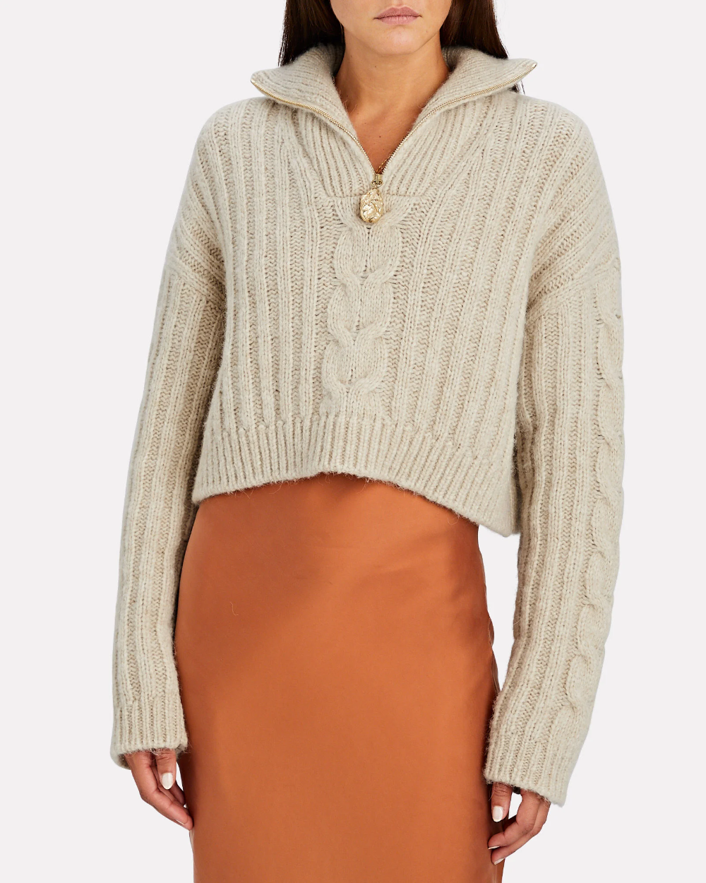 Women/'s Winter Cable Knitted High Neck Cropped Tops Pullover Sweater Jumper UK