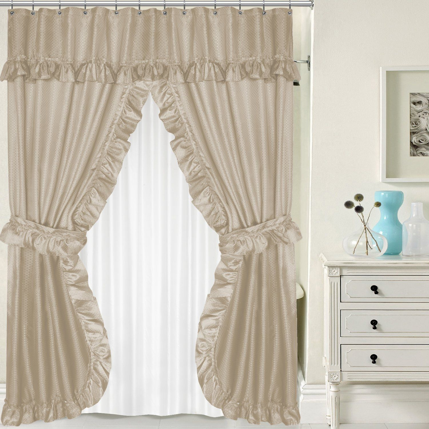 Swag Shower Curtain Attached Valance