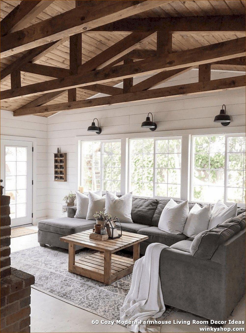 60 Cozy Modern Farmhouse Living Room Decor Ideas ✓ #modernfarmhouselivingroom