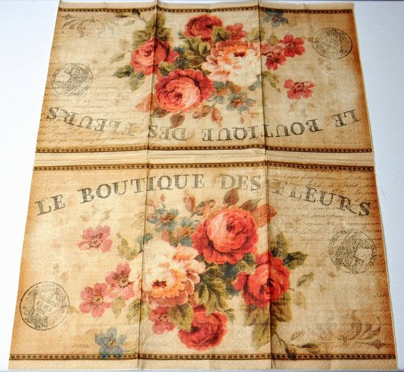 2 parisian flower paper napkins for decoupage vintage by ywart