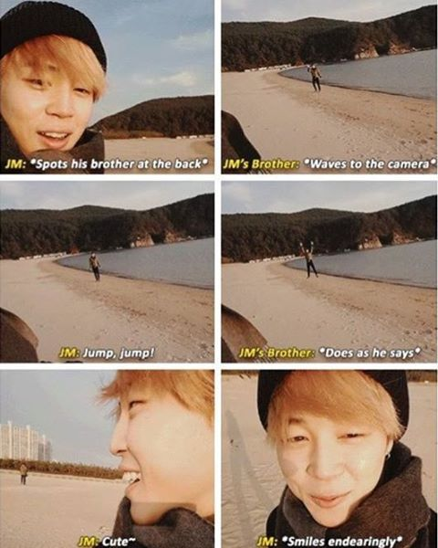 The relationship between jimin and his younger brother is