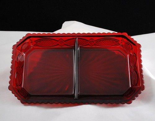 Avon 1876 Cape Cod Collection Dinnerware Ruby Red Glass Divided Relish & Avon 1876 Cape Cod Collection Dinnerware Ruby Red Glass Divided ...