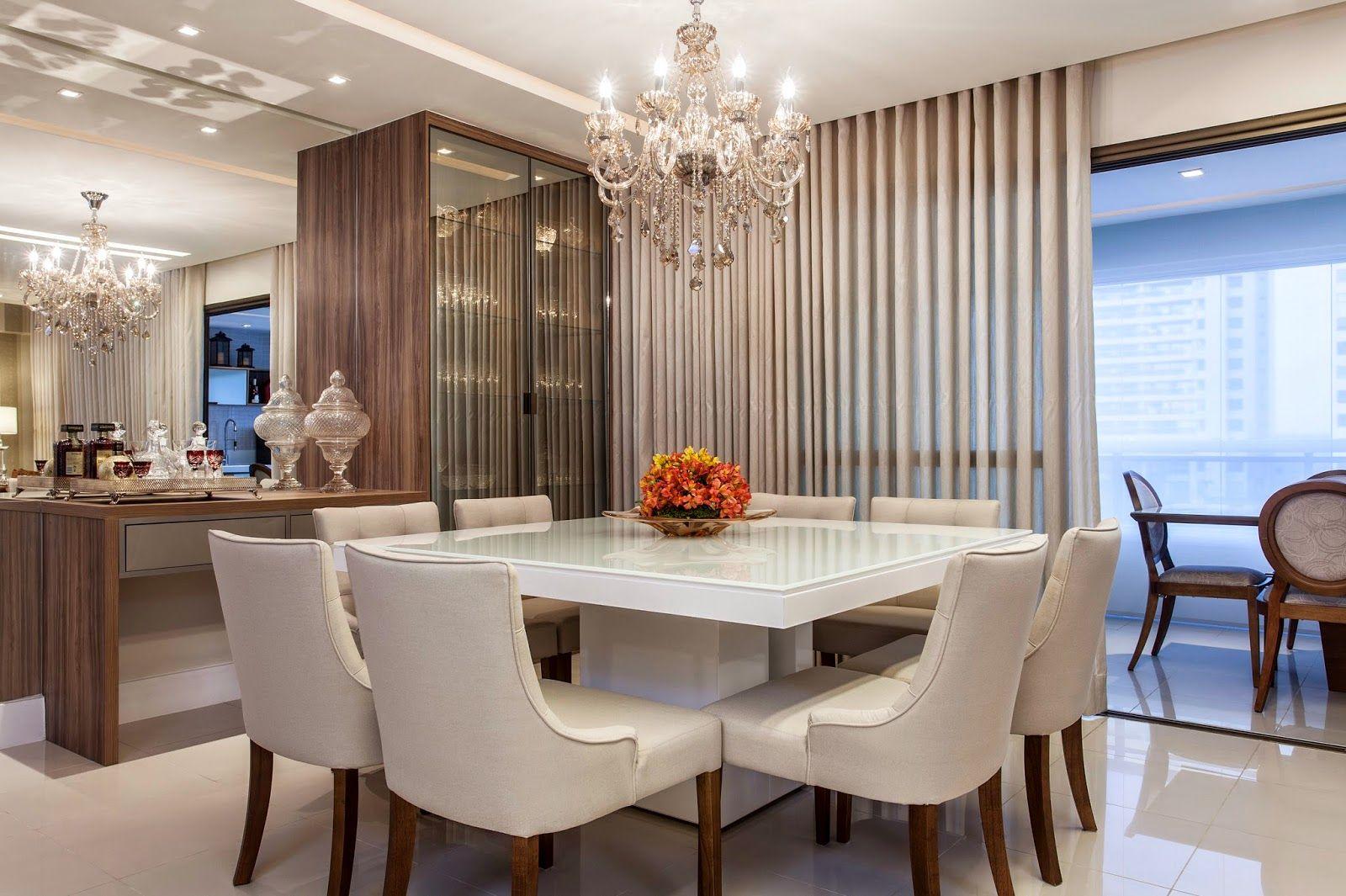 Salas De Jantar Com 8 E 10 Cadeiras Veja Mesas Quadradas  -> Sala De Jantar Pequena Com Mesa De Marmore