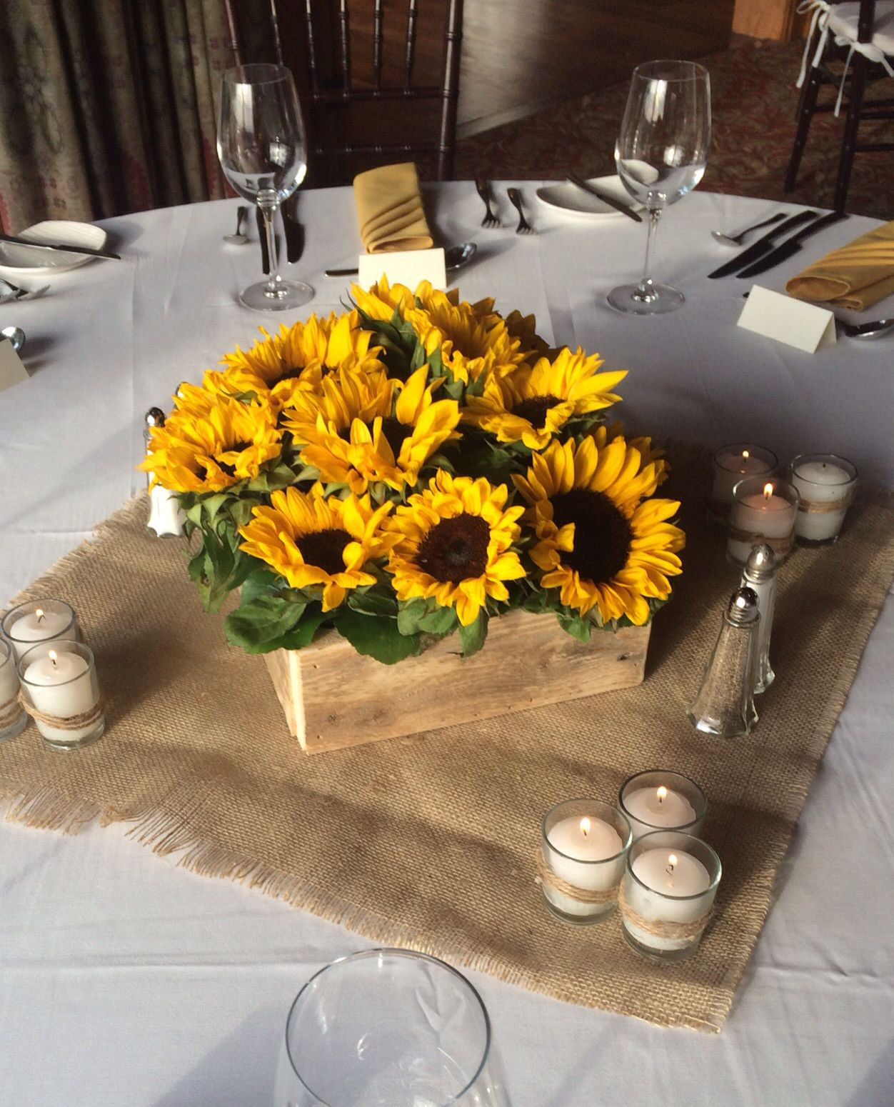 Wedding Flowers Cheap Ideas: Reclaimed Wooden Box Filled With Sunflowers Fall Wedding