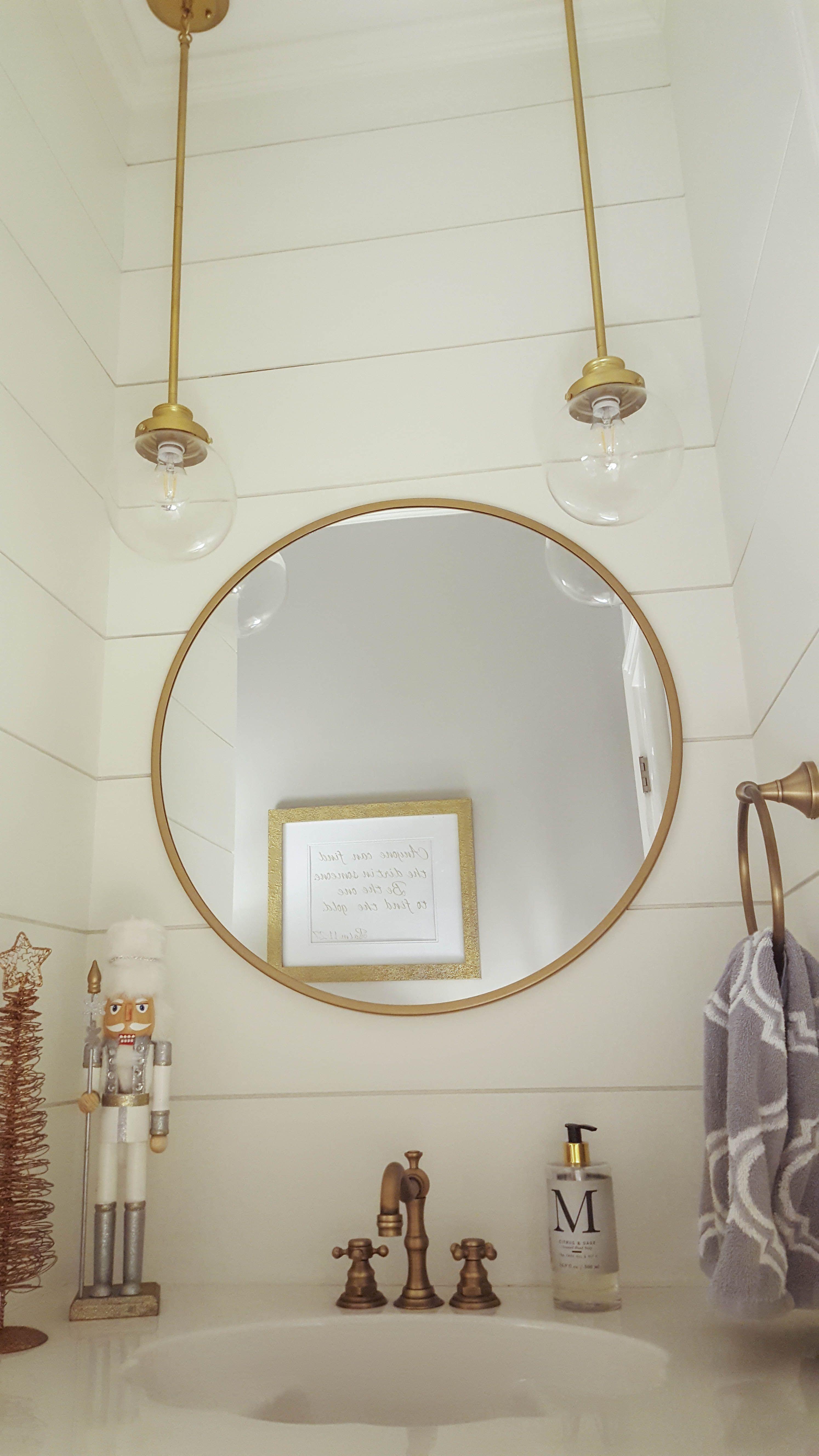 Festive White Gold Bathroom Vanity Incorporates Christmas Decor Glass Light Diy Bathroom Design Small Bathroom Remodel Designs Bathroom Inspiration Colors