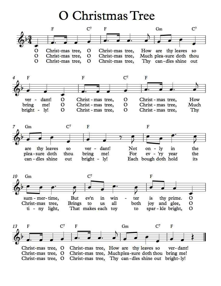 O' Christmas Tree in F Christmas sheet music, Christmas
