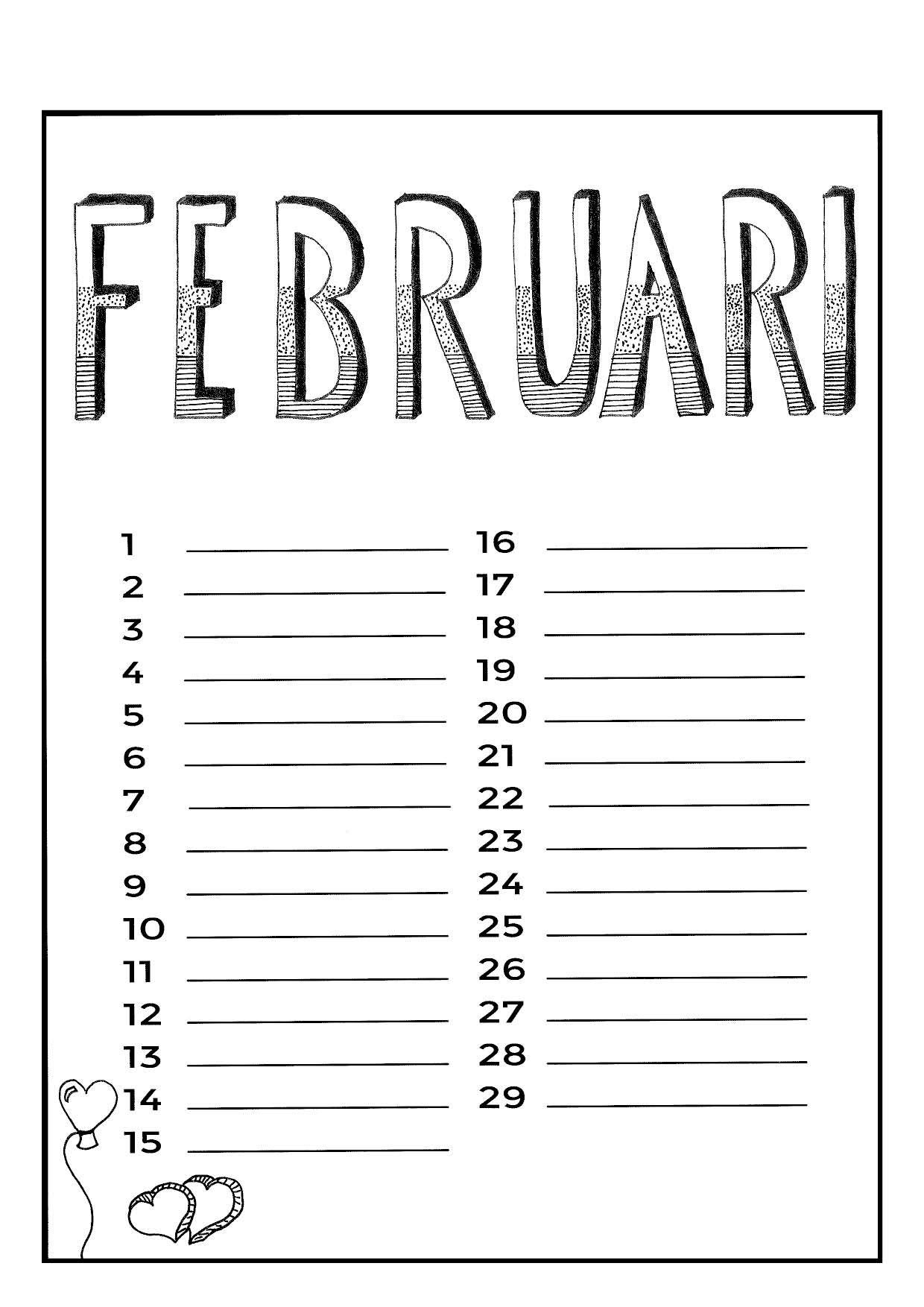 Februari Handlettering Kalender Ideeen Verjaardagskalender