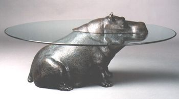 The Cheeky Hippo Coffee Table BronzeThe Glass Top Represents Water - Hippo coffee table