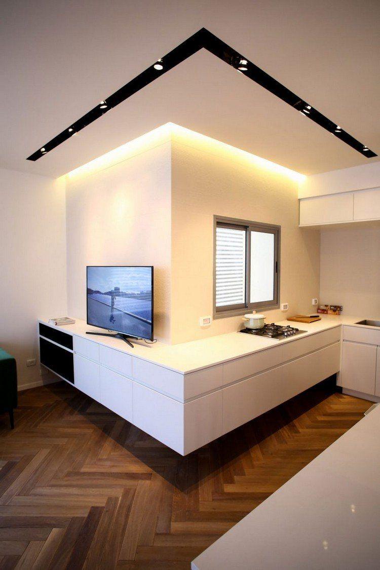 Cuisine sans poign e avec corniche lumineuse et faux for Plafond cuisine design