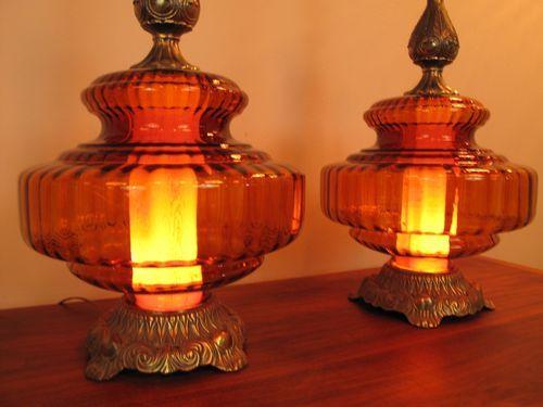 Vintage Blenko Era Blown Glass Lamps MCM for sale on ebay by Rinehart Retro