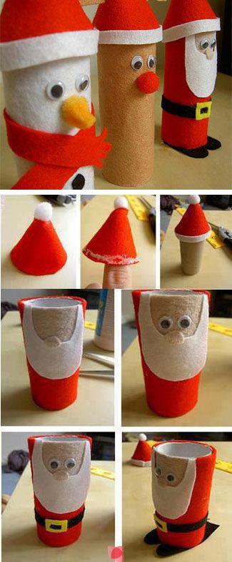 Toilet Paper Rolls Adornos De Navidad Pinterest Pai Natal Y - Adornos-de-navidad-con-rollo-de-papel-higienico