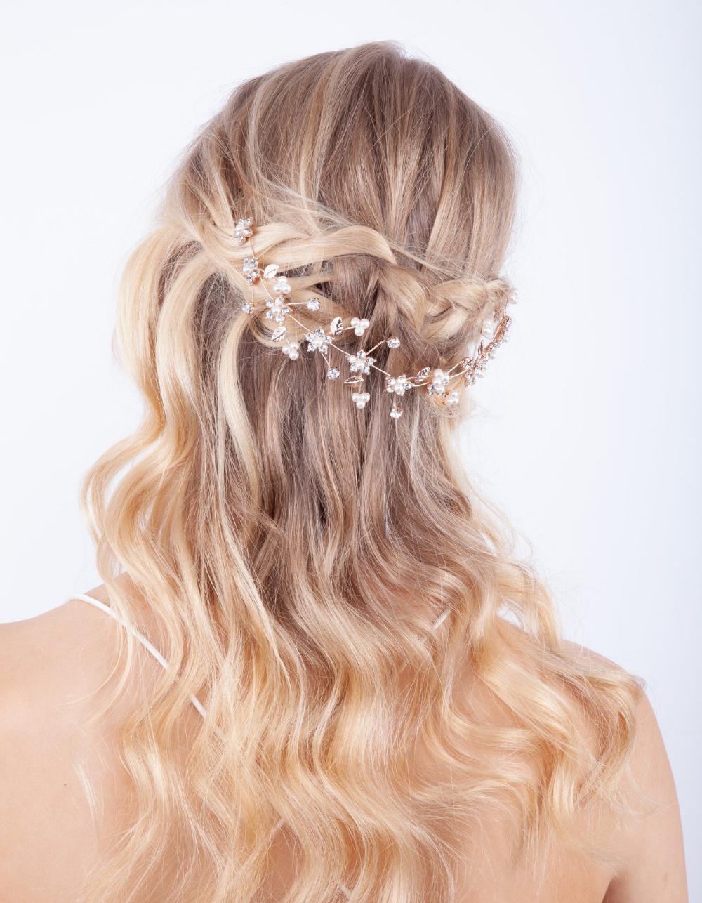 rose gold diamante flower pearl hair vine | lovisa bridal