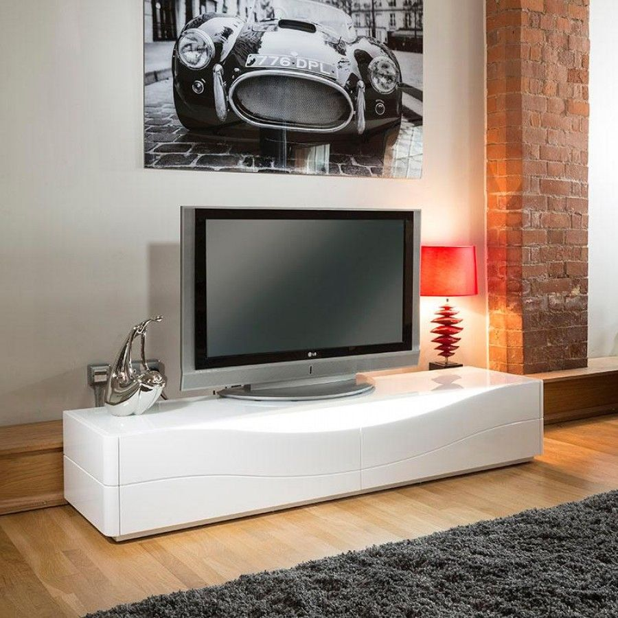 Luxury Modern Tv Stand Cabinet Unit White Gloss Led Lighting  # Meuble Tv Moderne Led