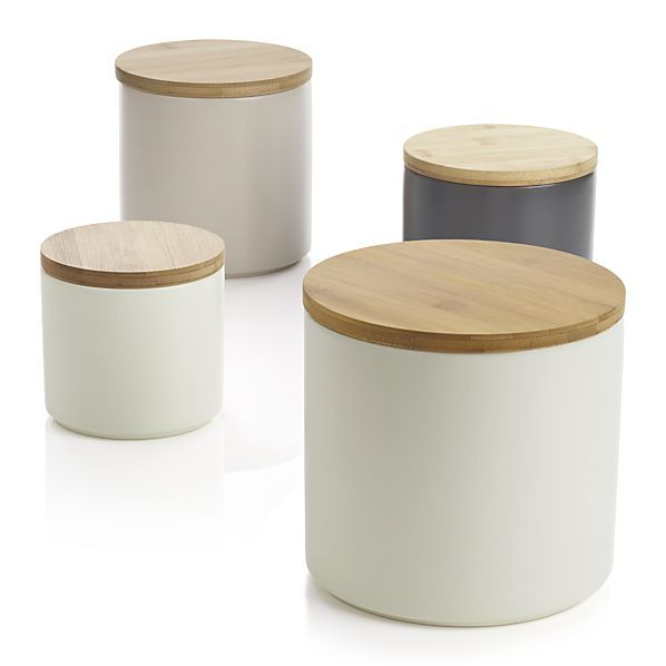 Shop Set Of 4 Silo Canisters. Clean, Contemporary Styling In Durable  Stoneware, Topped With A Natural Bamboo Lid. Silicone Lid Gasket Forms A  Tight Seal, ...