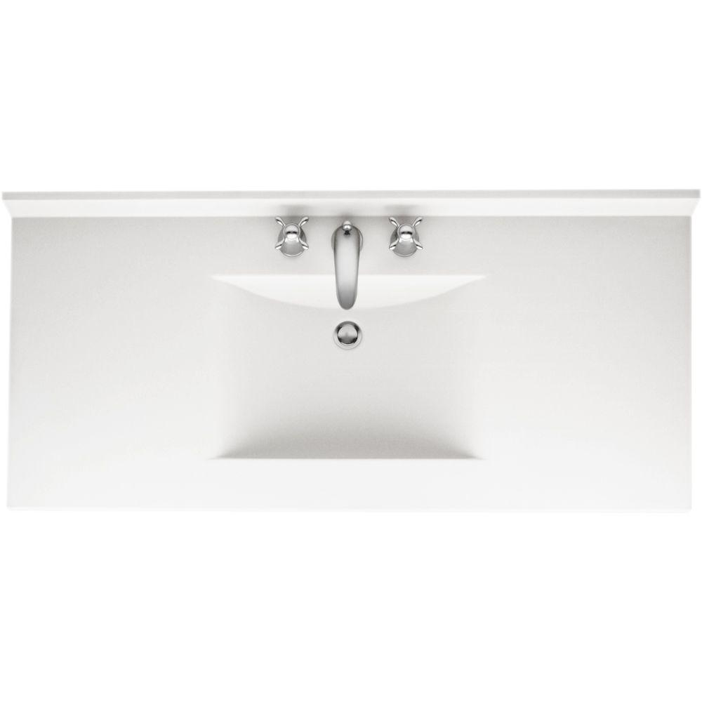 Picture Gallery Website Swanstone Contour in Solid Surface Vanity Top in Tahiti White with Tahiti White Basin Backsplash included to prevent water damage to wall and stop