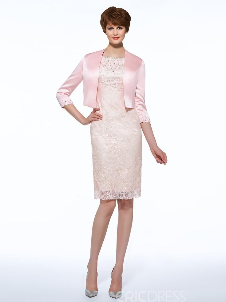 34235c73d54 Ericdress Beautiful Sheath Knee Length Lace Mother Of The Bride Dress With  Jacket