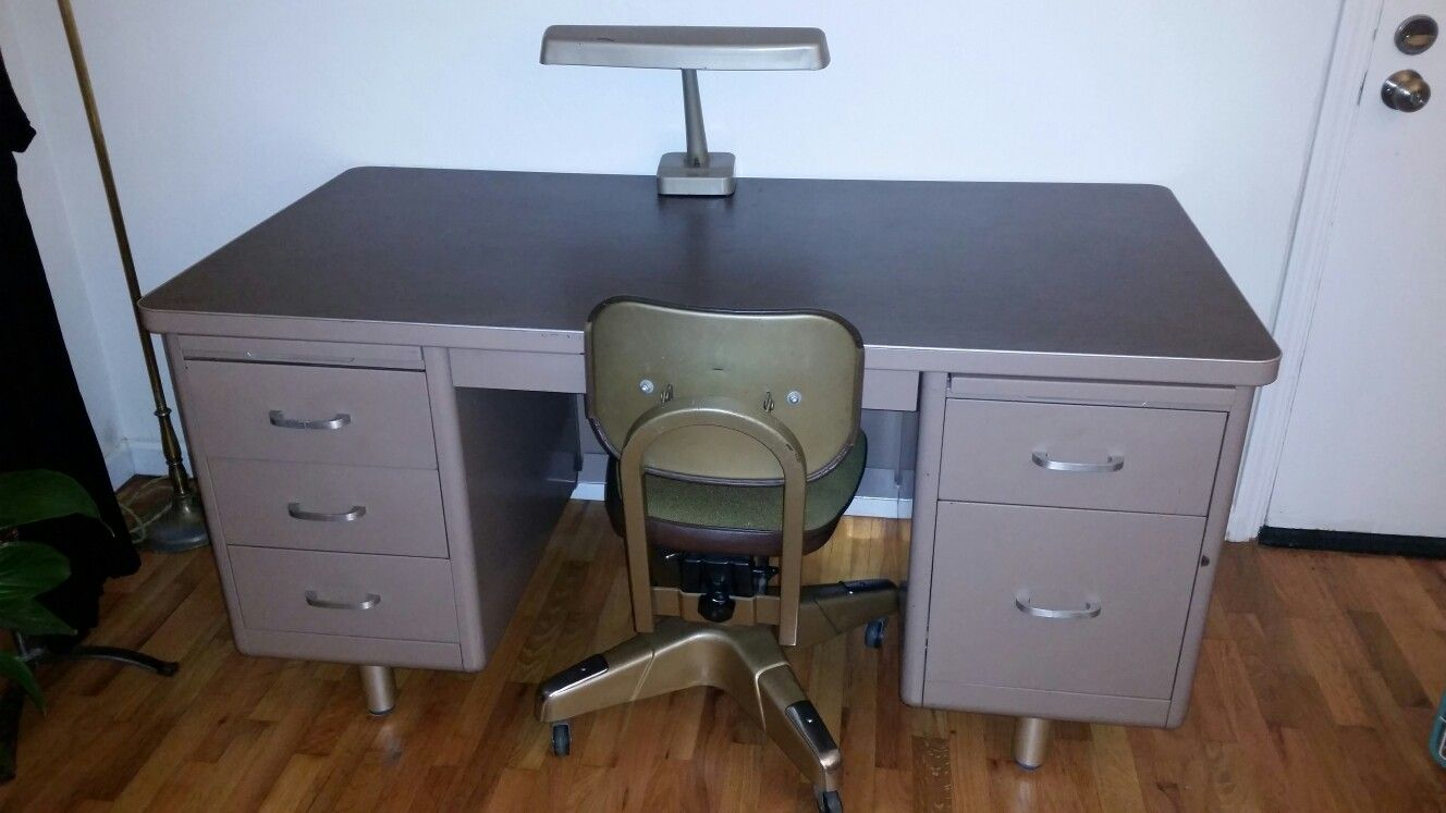 I Found This Tanker Desk On Craigslist With The Tanker Chair And Lamp For 150 The Chairs Alone Fo For That The Desks For No Less T Desk Tanker Desk Furniture