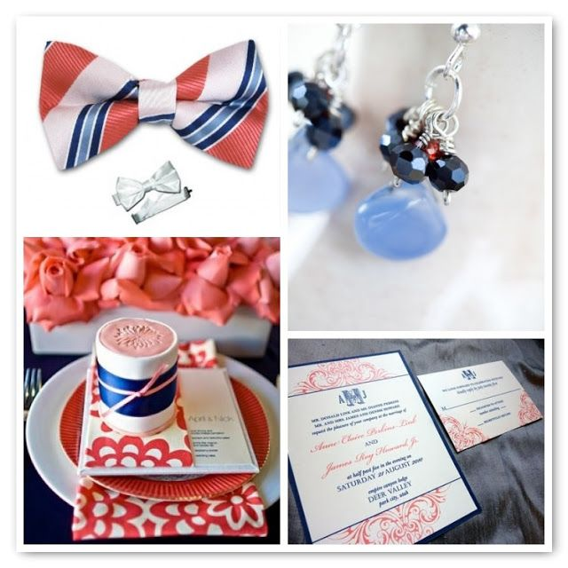 wedding invitations in a box navy and coral - Google Search