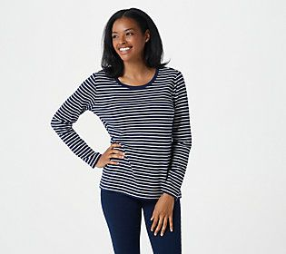 Take the basic long-sleeved knit tee, add a feminine fit and a playful striped design -- what you get is this versatile wardrobe element that covers a wide variety of casual occasions, loves to be layered, and livens up your denim looks. From Isaac Mizrahi Live!TM.