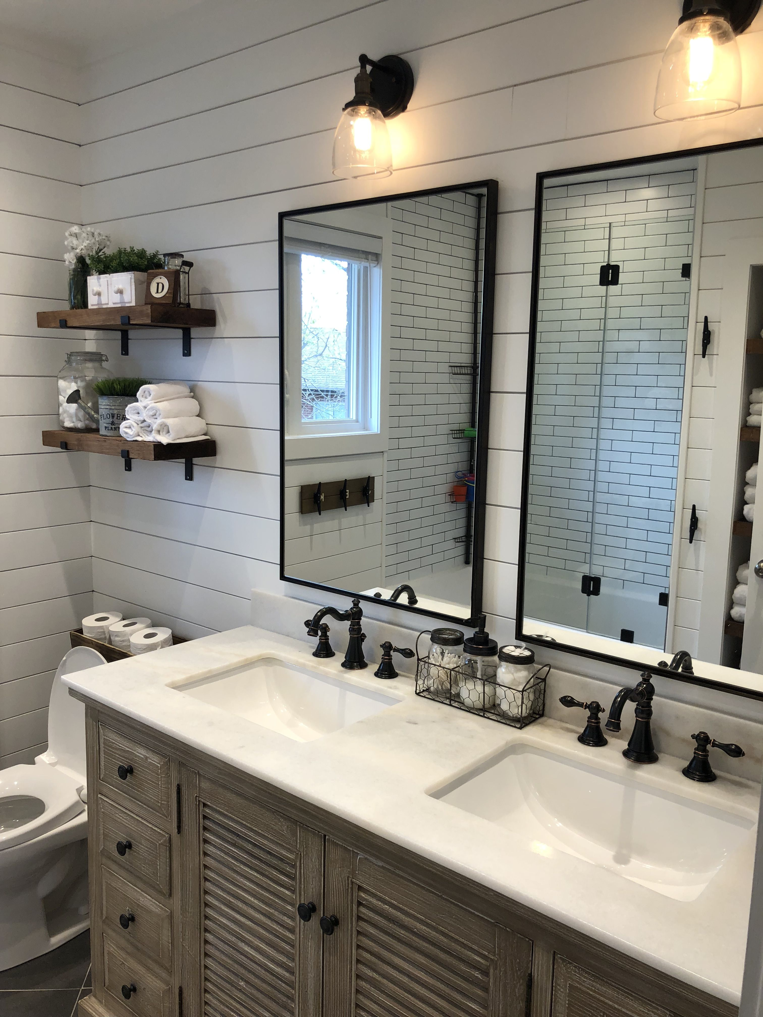 Modern Farmhouse Bathroom With Wood Vanity Shiplap Walls Oil Rubbed Bronze Accents Diy W Modern Farmhouse Bathroom Bathrooms Remodel Bronze Bathroom Faucets