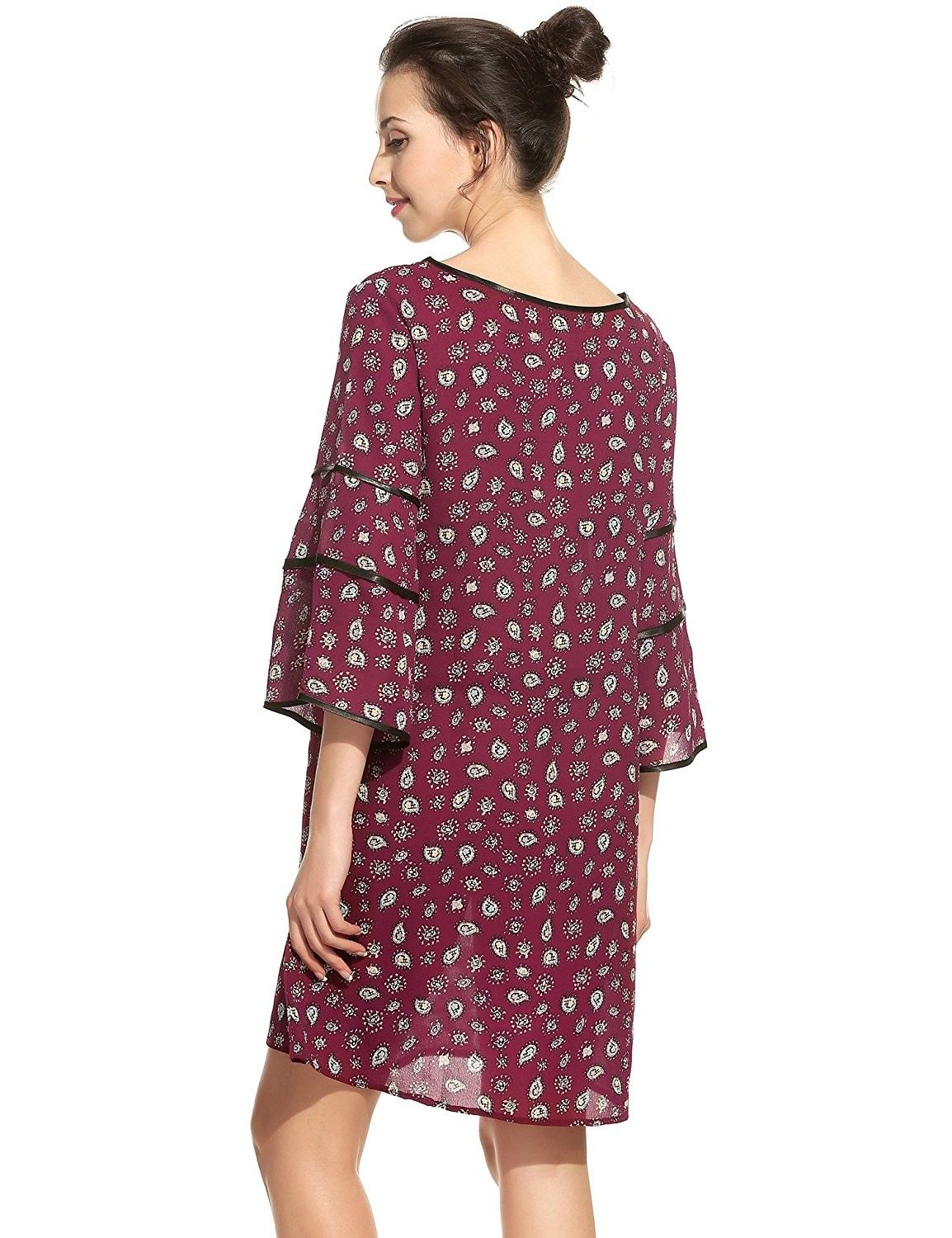 44ee860c8a2 Women Summer Casual Floral Print Ruffle Flare Bell Sleeve 3 4 Sleeve ...