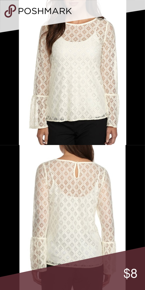 """94c9fa2afb25c The Limited Lace Top - NWT The Limited - diamond Lace Top - round Neck -  color """"off white"""" - keyhole with button closure - long bell sleeves -  smoke pet ..."""