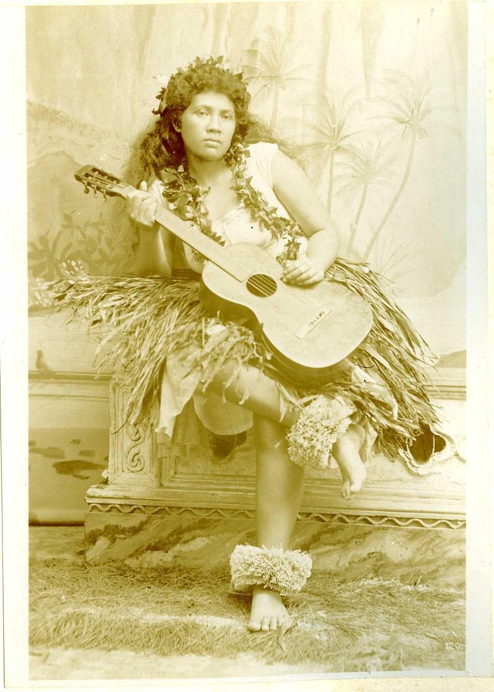 29d34290c41d vintage girl with guitar   Hawaii Native Hula Girl Original Citrate Print  1900   eBay