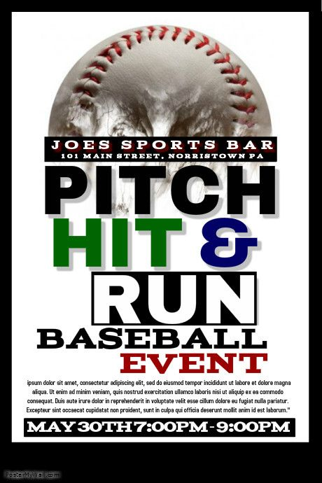 Baseball Poster Templates PosterMyWall Flyers Pinterest