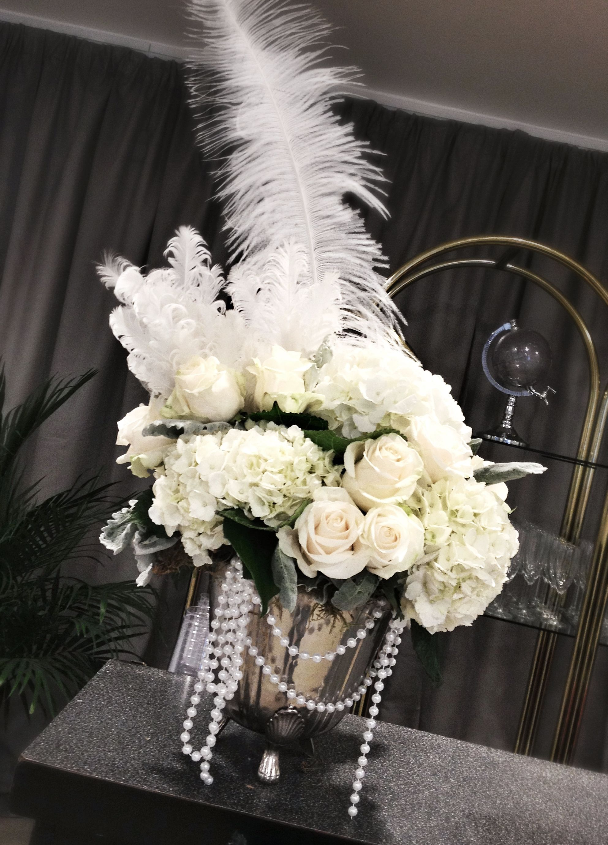 Gatsby flowers pearls and feathers floral design