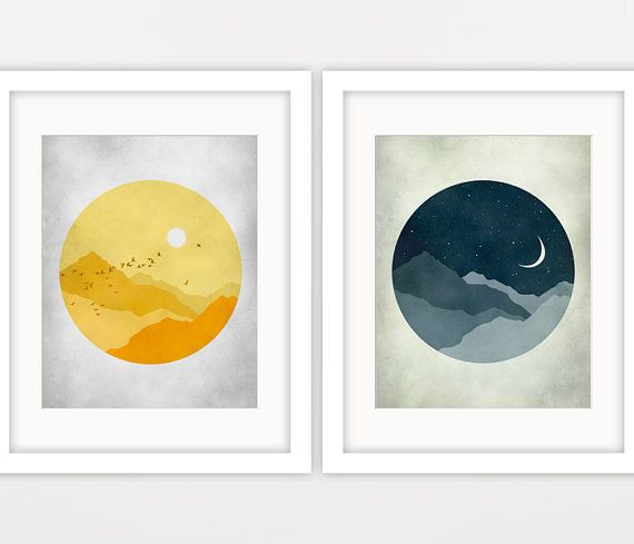 sun and moon nursery canvas art set of 2 prints scandinavian nursery wall art canvas gender. Black Bedroom Furniture Sets. Home Design Ideas